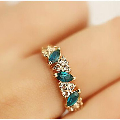 Dames Statementringen Kristal Synthetische Smaragd Strass Gesimuleerde diamant Legering Sieraden Voor Dagelijks Causaal