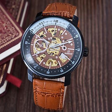 Heren Polshorloge mechanische horloges Automatisch opwindmechanisme Waterbestendig Leer Band Zwart Bruin Wit Zwart Koffie