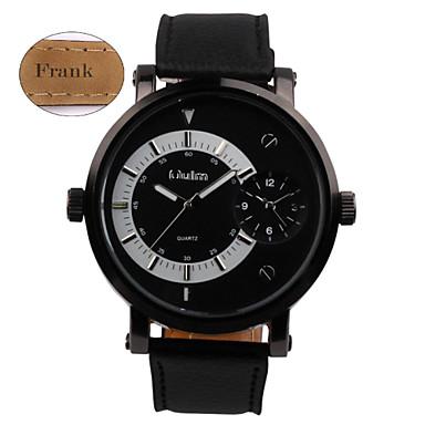 Gepersonaliseerde Gift - voor Heren - Dubbele tijdzones - Horloge - met Plastic / Echt Leer - Band
