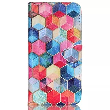 Para Capinha iPhone 6 Case Tampa Porta-Cartão Com Suporte Flip Estampada Corpo Inteiro Capinha Estampa Geométrica Rígida Couro Ecológico