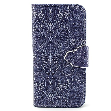 retro padrão de flor de couro pu caso de corpo inteiro com slot para cartão e ficar para iphone 5c