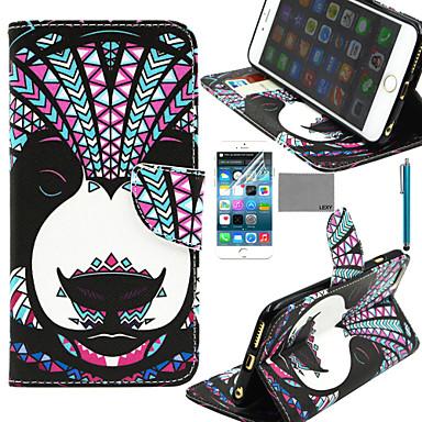 teste padrão tribal panda lexy® pu estojo de couro corpo inteiro com protetor de tela e stylus para iphone 6 / 6s