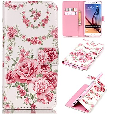 Para Samsung Galaxy Capinhas Carteira / Porta-Cartão / Com Suporte / Flip Capinha Corpo Inteiro Capinha Flor Couro PU SamsungS6 edge plus