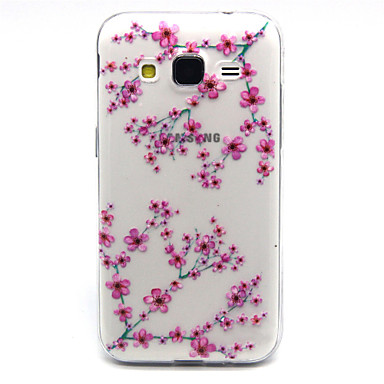 Voor Samsung Galaxy hoesje Hoesje cover Transparant Achterkantje hoesje Bloem TPU voor Samsung Galaxy Core