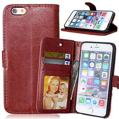 Capinha Para iPhone 6 iPhone 6 Plus Porta-Cartão Carteira Com Suporte Flip Corpo Inteiro Côr Sólida Rígida Couro Ecológico para iPhone 6s