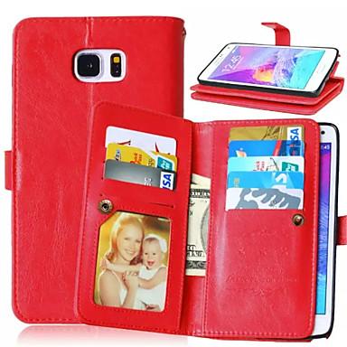 Για Samsung Galaxy Note Θήκη καρτών / Πορτοφόλι / με βάση στήριξης / Ανοιγόμενη tok Πλήρης κάλυψη tok Μονόχρωμη Συνθετικό δέρμα Samsung