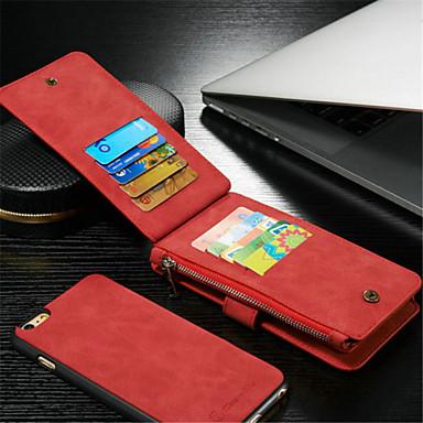 com zíper dividir chupar adesivos pu material de aleta estojo de couro carteira para iphone 6plus / 6s mais (cores sortidas)