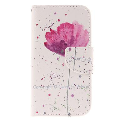 hoesje Voor Samsung Galaxy Samsung Galaxy hoesje Kaarthouder Portemonnee met standaard Flip Volledig hoesje Bloem PU-nahka voor S4