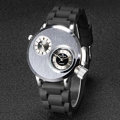 Ανδρικά Μοναδικό Creative ρολόι Ρολόι Καρπού Χαλαζίας Γιαπωνέζικο Quartz Διπλές Ζώνες Ώρας καουτσούκ Μπάντα Μαύρο