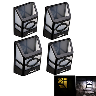 youoklight® 4pcs alta potência 2x leds luz quente montado luz branca / branca solar lanterna cerca luz solar, lâmpada de parede