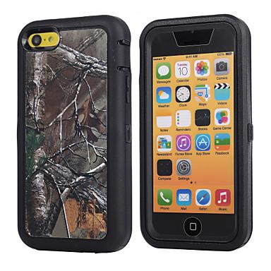 ramo camuflagem caso à prova de choque w / build-in protetor de tela para iphone 5c plástico + cobertura TPU com