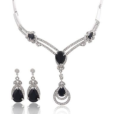Dames Sieraden Set Kristal Luxe Modieus Bruiloft Feest Dagelijks Causaal Zirkonia Gesimuleerde diamant Legering Oorbellen Kettingen
