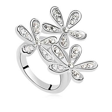 Maxi anel Cristal Strass Liga Prata Dourado Jóias Casamento Festa Diário Casual 1peça