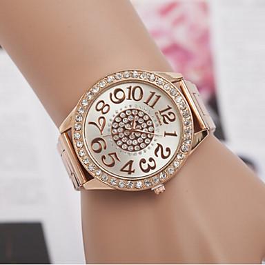 Mulheres Relógio Elegante Simulado Diamante Relógio imitação de diamante suíço Designer Quartzo Lega Banda Prata Dourada Ouro Rose