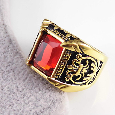 Homens Feminino Anéis Grossos Amor Coração Esculpido Aço Inoxidável Chapeado Dourado Imitações de Diamante Formato de Flor Jóias Para