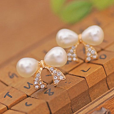 Brincos Curtos Punhos da orelha Jóias de Luxo Pérola Cristal Imitação de Pérola Chapeado Dourado imitação de diamanteFormato de Laço