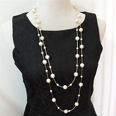 Női Strands Necklace Rakott nyakláncok Biserna ogrlica Többrétegű Többrétegű Gyöngy Gyöngyutánzat Ezüst Aranyozott Nyakláncok Ékszerek Kompatibilitás Esküvő Parti Napi Hétköznapi
