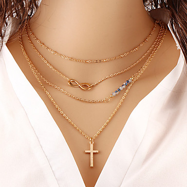 Mulheres Infinidade colares em camadas  -  Fashion Infinidade Dourado Colar Para Ocasião Especial Aniversário Presente
