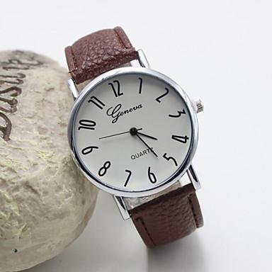 Dames Modieus horloge Kwarts Leer Band Zwart Wit Bruin