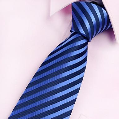 Homens Vintage Festa Trabalho Casual Poliéster Todas as Estações Gravata, Listrado Azul