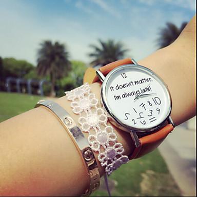 Mulheres Bracele Relógio Cronógrafo PU Banda Relógios com Palavras / Fashion Preta / Branco / Marrom