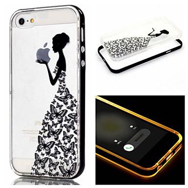 Voor iPhone 5 hoesje LED-knipperlicht / Transparant / Patroon hoesje Achterkantje hoesje Spelen met Apple-logo Zacht TPU iPhone SE/5s/5
