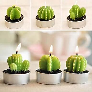 6 x cactus plant pot set kaarsen kaars party bruiloft decoraties (willekeurige kleur)