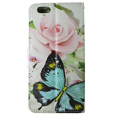 subiu padrão borboleta pu caso da aleta de couro com fecho magnético e slot para cartão para o iphone 6 / 6s caso 4,7 polegadas