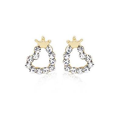 Mulheres Brincos Curtos Punhos da orelha Amor Coração Cristal Prata Chapeada Formato Coroa Coração Jóias Festa Diário Casual Jóias de