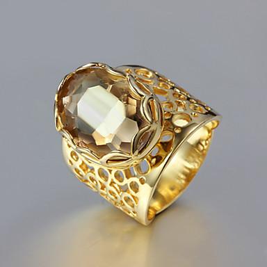 Anéis Casamento / Pesta / Diário / Casual Jóias Strass / Chapeado Dourado Feminino Anéis Grossos 1pç,6 / 7 / 8 / 9 Dourado