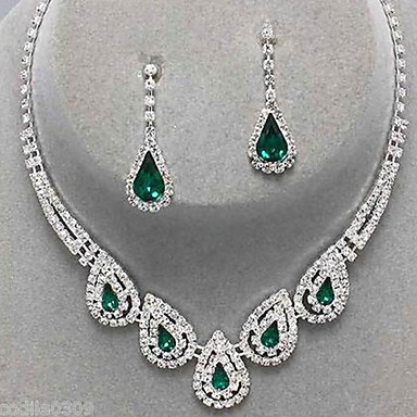 cheap Jewelry Sets-Women's Sapphire Crystal Jewelry Set Cubic Zirconia, Imitation Diamond Drop Ladies, Luxury, Party, Elegant, Bridal Include Drop Earrings Pendant Necklace Emerald / Sapphire / Light Olive For Wedding