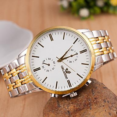 Masculino Relógio de Pulso Quartzo Metal Banda Cores Múltiplas Branco Preto Bege