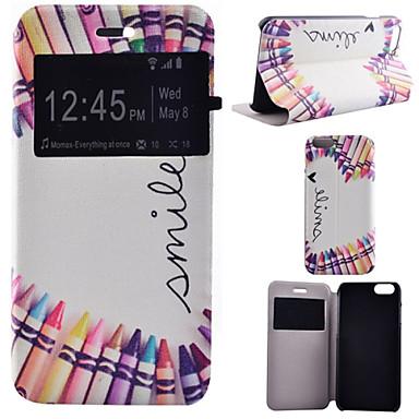 kleurpotlood patroon pu lederen full body hoes met standaard voor de iPhone 6 plus / iphone 6s plus