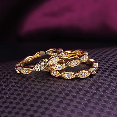 Mulheres Conjunto de Jóias Anéis Grossos Fashion Zircão Chapeado Dourado 18K ouro Jóias Casamento Festa Diário Casual