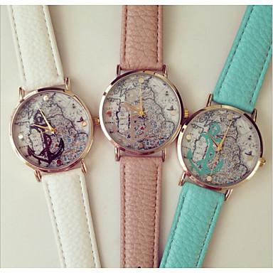 Dames Modieus horloge Kwarts PU Band Zwart Beige Blauw Roze Lichtblauw
