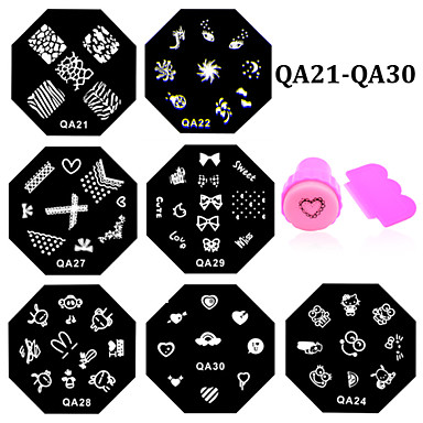 11 pcs Placa de Carimbar / Jóias de unha Flor / Fashion Diário Nail Art Design / Metal