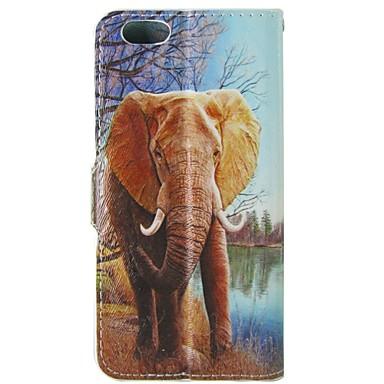 dieren olifant patroon pu lederen flip beschermhoes met magnetische snap en kaartslot voor iphone 5c