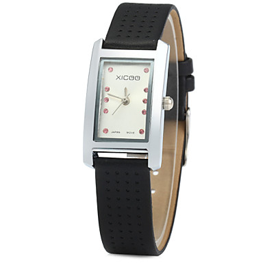 Dames Modieus horloge Kwarts imitatie Diamond Leer Band Zwart Wit Rood Bruin Wit Bruin Rood Zwart/Wit Zwart
