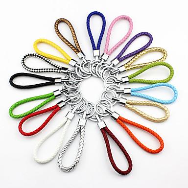 multicolor regenboog leren weven diy sleutelhanger (willekeurige kleur)