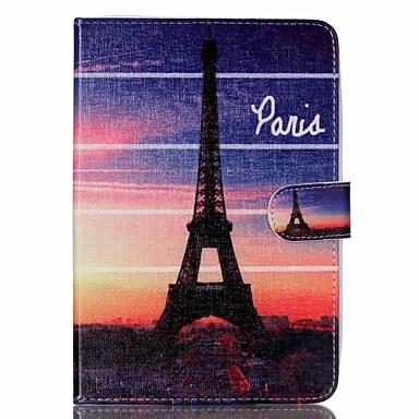 couro folio Torre Eiffel ficam caso da tampa com suporte para o ipad mini-3/2/1