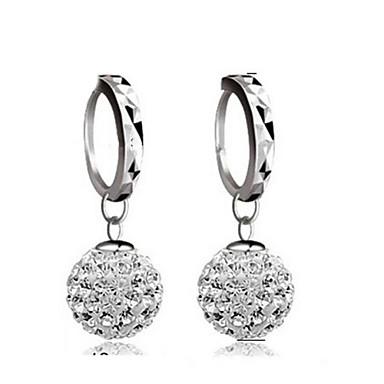 Brincos Compridos Imitação de Diamante Moda Clássico Prata de Lei Cristal Strass Prata Jóias Para Casamento Festa Diário 2pçs