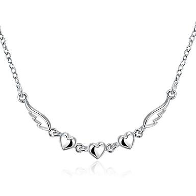 Dames Hart Verzilverd Hangertjes ketting - Liefde Hart Zilver Kettingen Voor Kerstcadeaus Bruiloft Feest Speciale gelegenheden