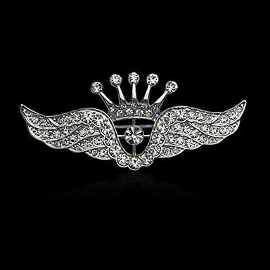 Homens Mulheres Luxo Elegant Fashion Chapeado Dourado Imitações de Diamante Liga Formato Coroa Asas / Penas Prata Jóias Para Casamento