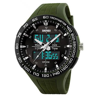 Homens Relógio de Pulso Relógio Esportivo Digital Alarme Calendário Cronógrafo Impermeável Relógio Esportivo LED Dois Fusos Horários PU