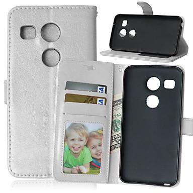 Capinha Para LG Capinha LG Porta-Cartão Carteira Com Suporte Flip Corpo Inteiro Côr Sólida Rígida Couro Ecológico para