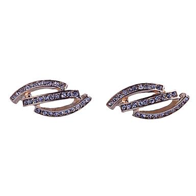 Brincos Curtos Estilo simples Jóias de Luxo Cristal imitação de diamante Liga Prata Dourado Jóias Para Festa Diário Casual 2pçs