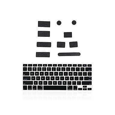 plugues de silicone portuários anti poeira + correspondentes tampa do teclado para MacBook 13