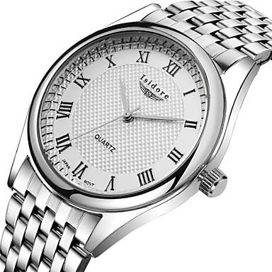 Masculino Relógio de Pulso Quartzo Impermeável Aço Inoxidável Banda Prata