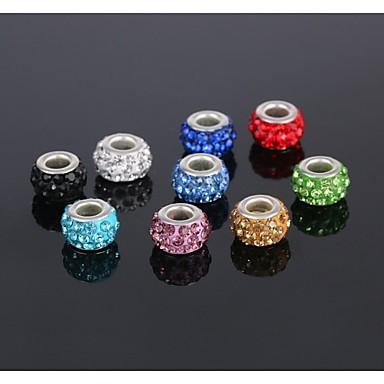 5pcs jóias de prata charme talão de liga europeu de cristal do grânulo ajuste pulseira colar brinco (enviar 5 cores diferentes)