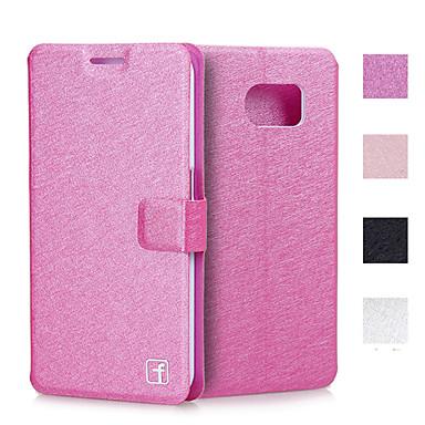 Voor Samsung Galaxy hoesje Kaarthouder / met standaard / Flip hoesje Volledige behuizing hoesje Effen kleur PU-leer Samsung S6